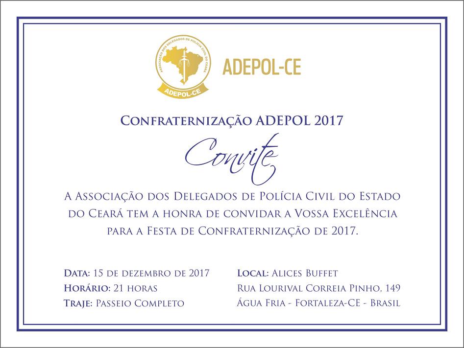 Convite para festa de confraternização da Adepol/CE já está disponível para retirada