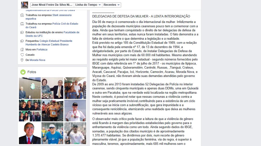 """O artigo """"DELEGACIA DA MULHER: NADA DE INTERIORIZAÇÃO"""" ganha destaque no Jornal OPOVO"""