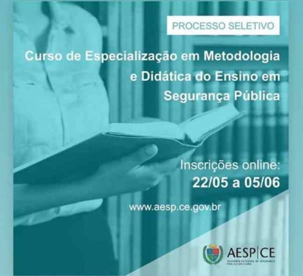 AESP segue com inscrições para especialização em Metodologia e Didática do Ensino em Segurança Pública